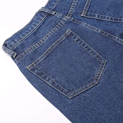 Fashion Estiramiento Pantalones Mezclilla Cintura Hx Alta Mujeres Slim Las Dunkelblau De Basic Udqa4B