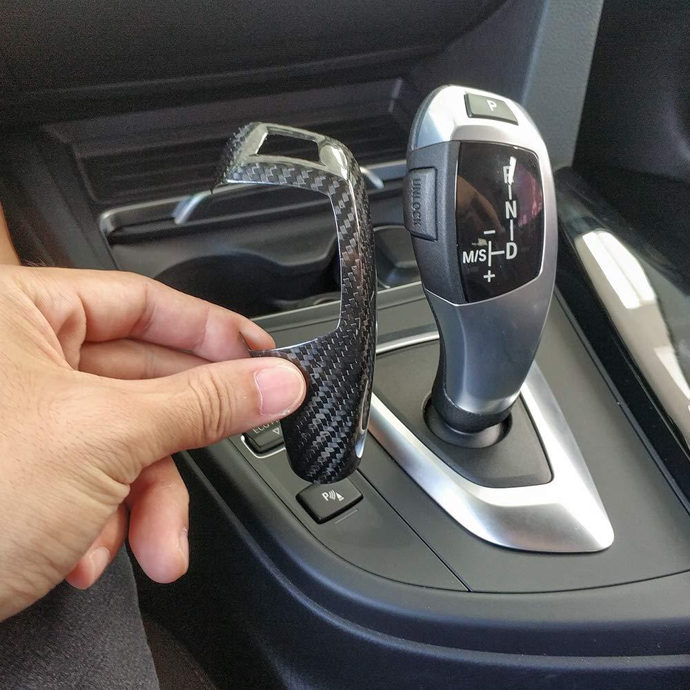 Real Carbon Fiber For BMW F20 F30 F31 F34 X5 F15 X6 F16 X3 F25 X4 F26 F10 Car Gear Shift Panel Frame Gear Knob Cover Head Trim Style 1