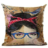Monkeysell Newspaper Literary Women Face Cotton Linen Square Throw Pillow Case Decorative Cushion Cover Pillowcase Cushion Case for Sofa,Bed,Chair 18 X 18 Inch (S045A2)