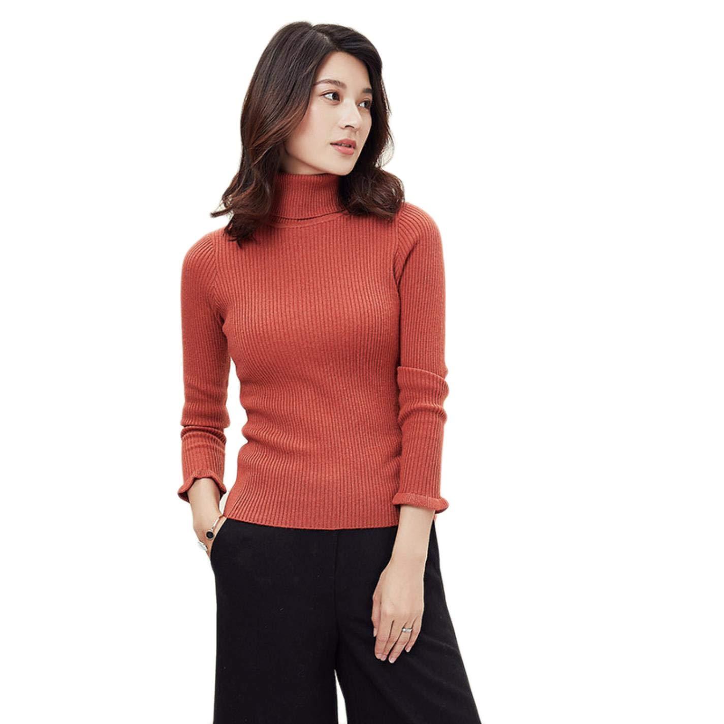 BlingGlri Womens Pure Cashmere Turtleneck Sweater Rib Knit Warm and Light