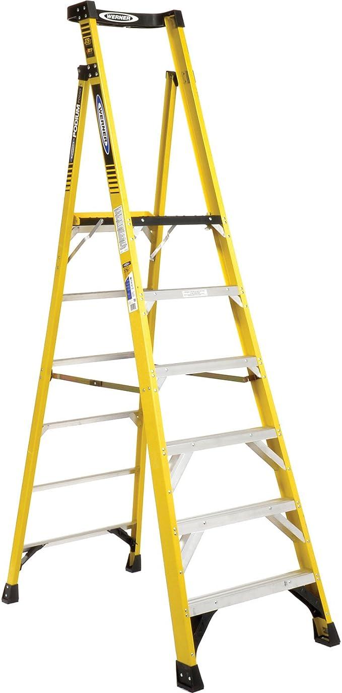 WERNER CO PD7306 Escalera de aluminio de podio tipo IAA – 6 pies: Amazon.es: Bricolaje y herramientas