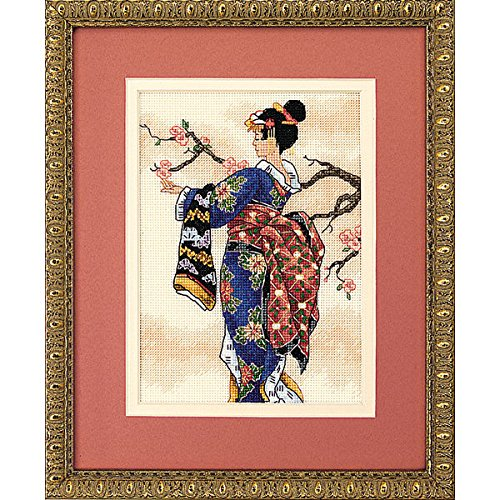 Dimensions Japanese Woman Counted Cross Stitch Kit, Ivory 18 Count Aida Cloth, 5