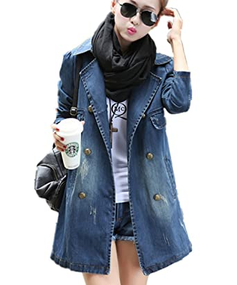 YOGLY Herbst Damen Jeansjacke Jeans Lang Elegant Herbstmantel Schöne Coat  Parka Jacke Deinm Jeans Jeansjacke Denim Winterjacke Oberteile Mantel   Amazon.de  ... 85a877b483