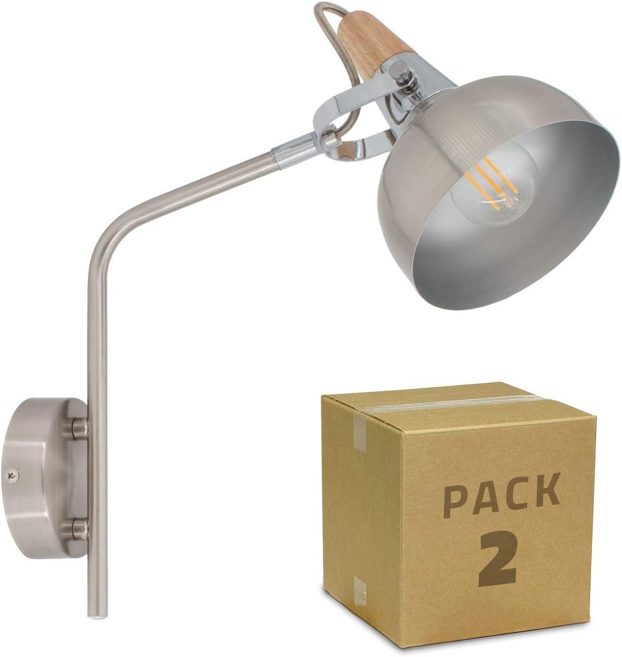 LEDKIA LIGHTING Pack Aplique Orientable Brazo Superior Emer 1 Foco Plata (2 un) PlataPlata: Amazon.es: Iluminación