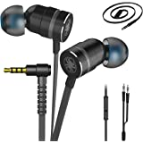 Plextone Gaming Earphones, RichBass in-Ear Headphones with L Sharp Plug & Extension Cable for PC, iPhone, Samsung, Laptop, Xiaomi (Upgrade Black)