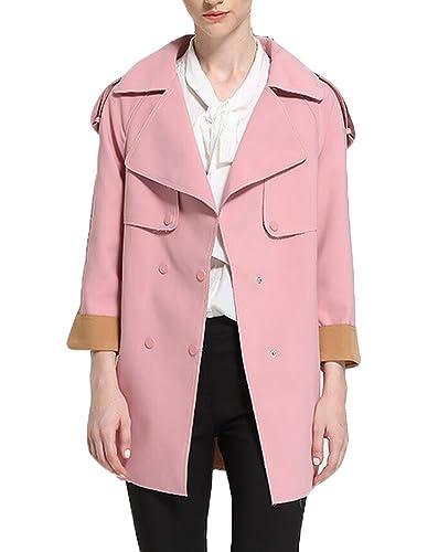 La Sra Primavera Y Otoño Abrigo De Temperamento De Doble Botonadura Abrigo De La Solapa,Pink-L
