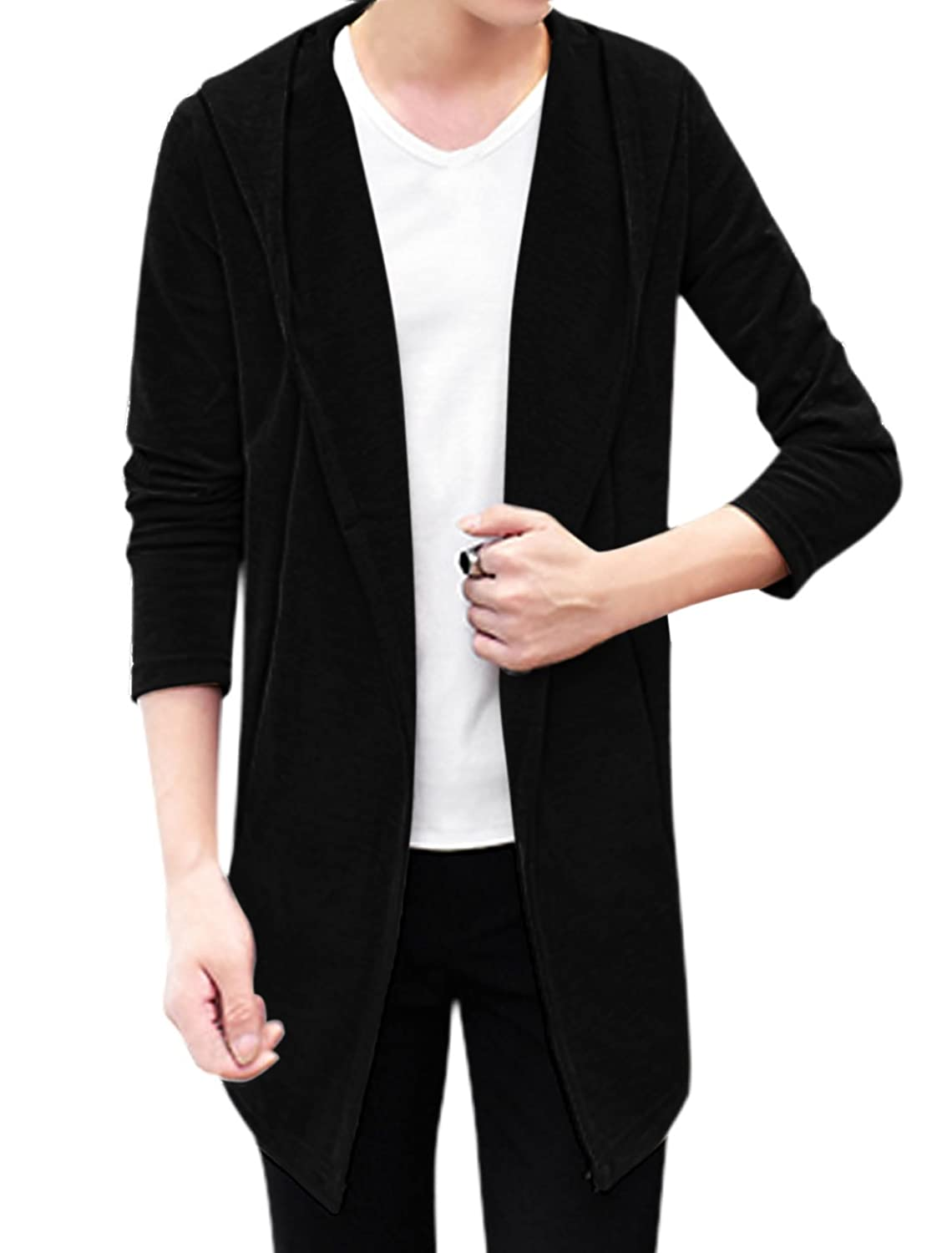 sourcingmap? Man Long Sleeves Slant Pocket Open Front Hooded Cardigan