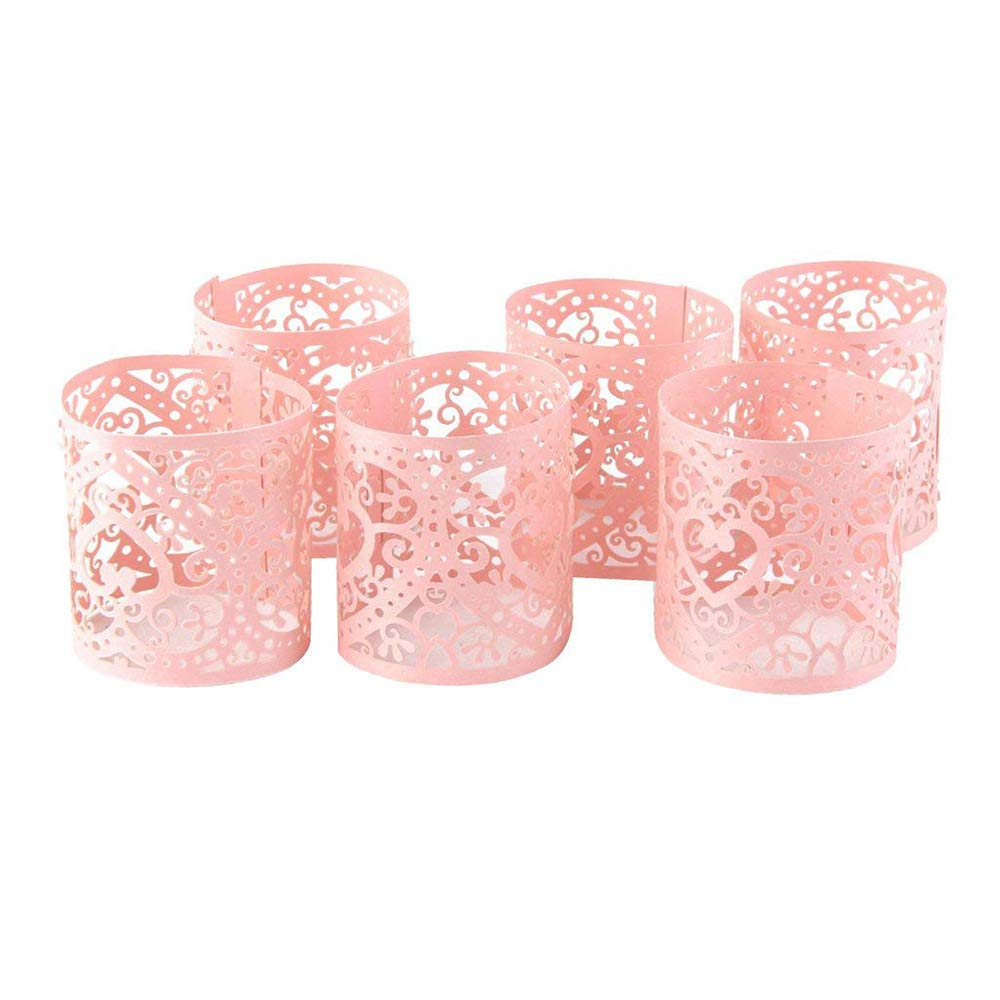 Xeminor Lampshade Laser Candle Hollow Wedding Christmas LED Lamp Love Light Candle Holders Table Decoration Heart 6pcs (Pink)