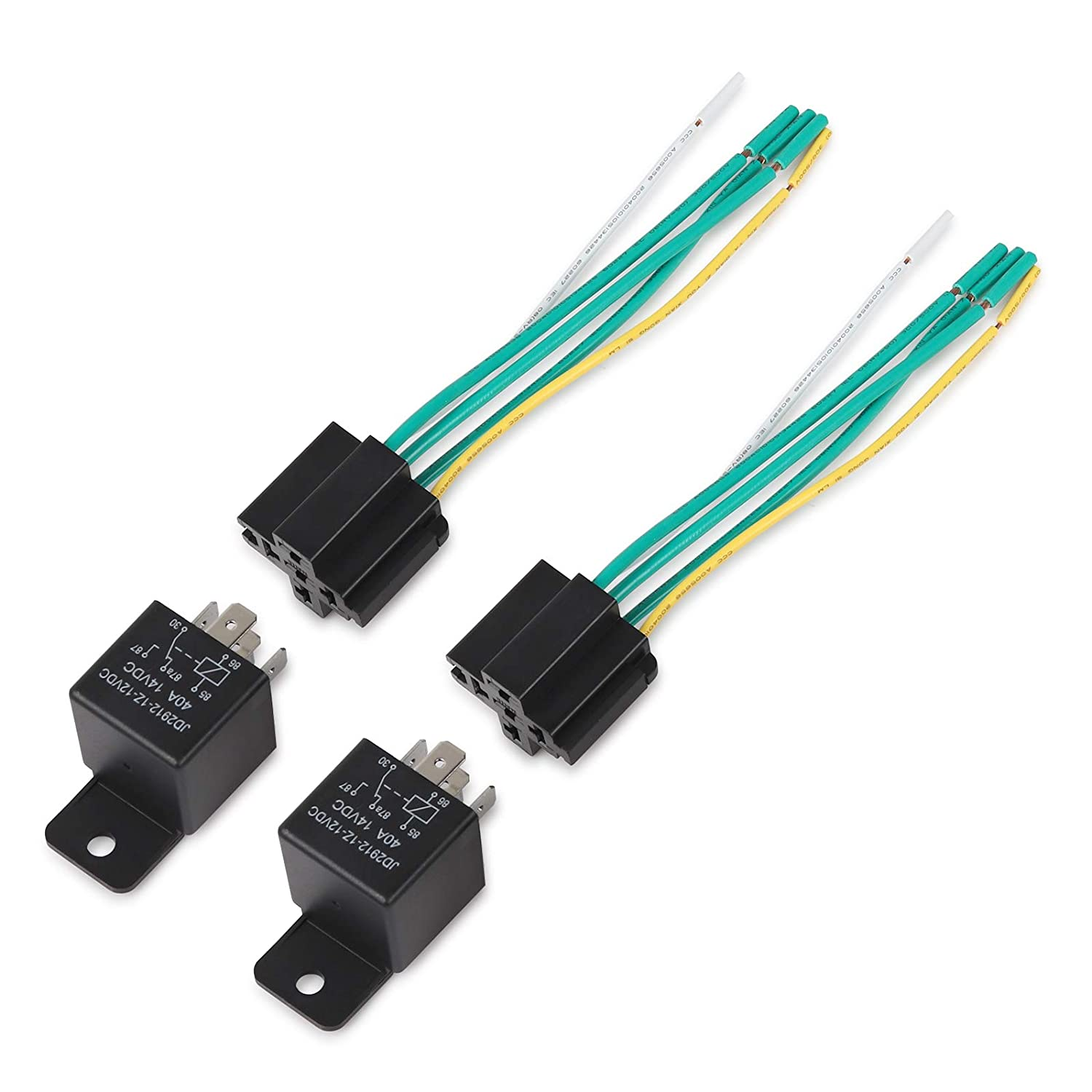 Ehdis/® Car Truck Relay Socket Harness kit 5 Pin 5 Pre-wired 24V 40 Amp SPDT Bosch Style Automotive Motor Relay Contactor Switches Power Pack of 5