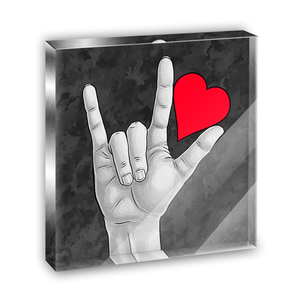 I Love You Sign Language Acrylic Office Mini Desk Plaque Ornament Paperweight