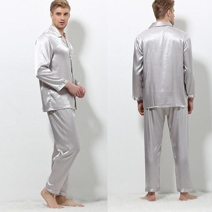 GJM Shop algodón con bolsillos albornoz ---- Primavera Y Otoño Hombres Seda Pijamas Mangas Largas Solapa Cuello En V Albornoz Tops + Pantalones Traje De Dos ...