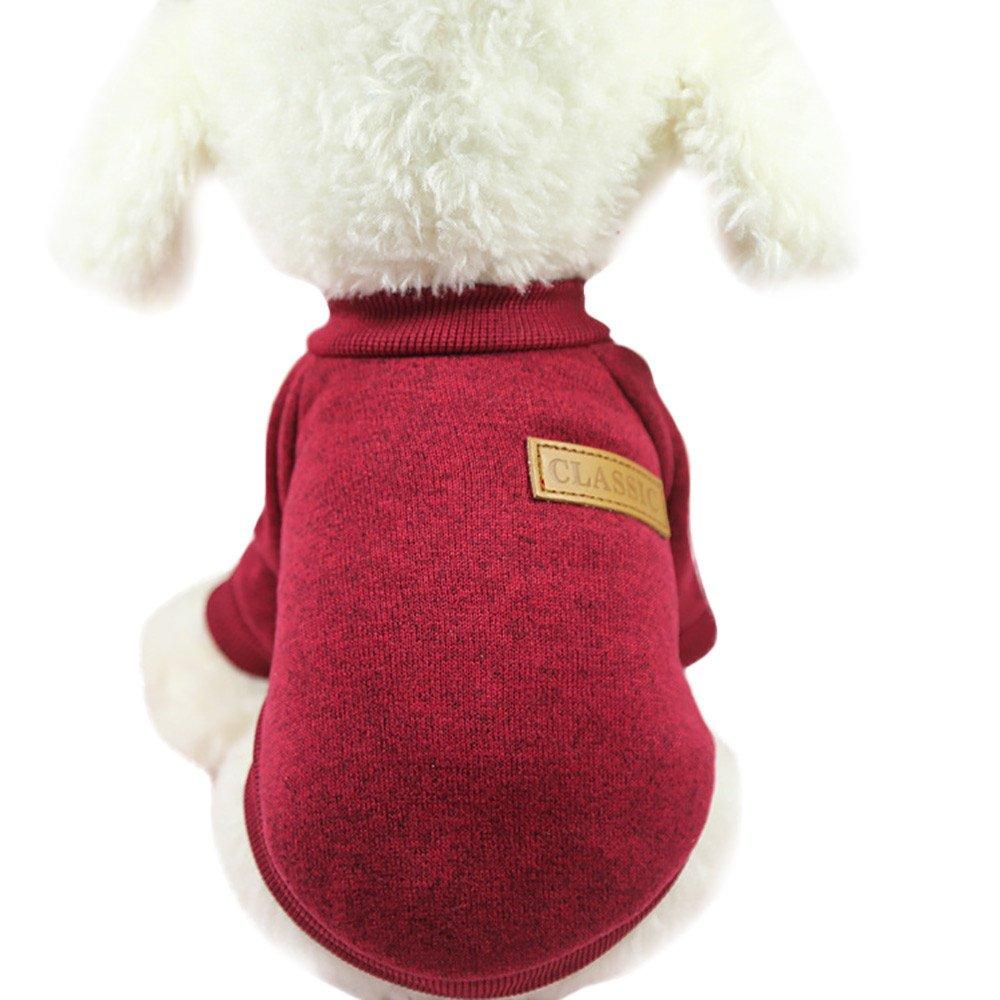 Vetement Chien,Chiot Chien Pull Classique Pull en Laine Polaire vêtements Pull Chaud Hiver,Pet Manteaux (XL, Rouge)