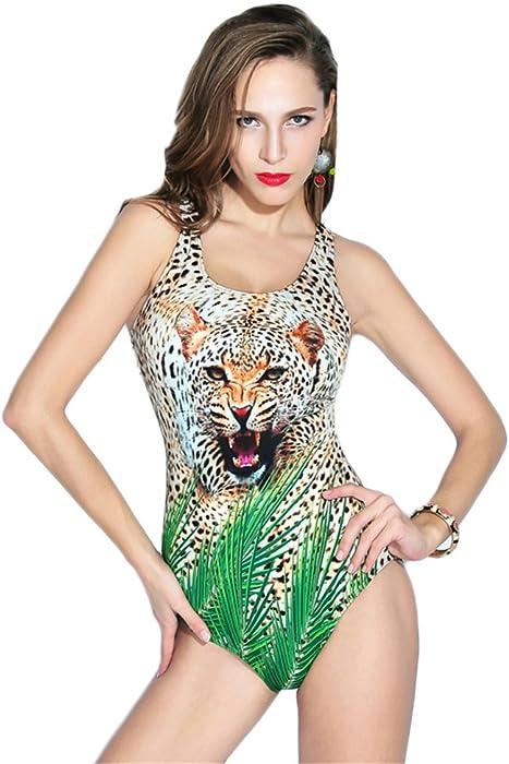 Dabag-Mujer Hálter Patrón Leopard Triangle Bikini Impresión Bañador Una Pieza