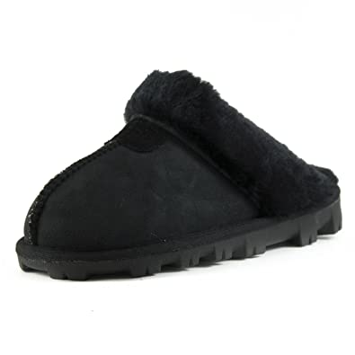 1a6812f579 CLPP'LI Womens Slip On Faux Fur Warm Winter Mules Fluffy Suede Comfy  Slippers-