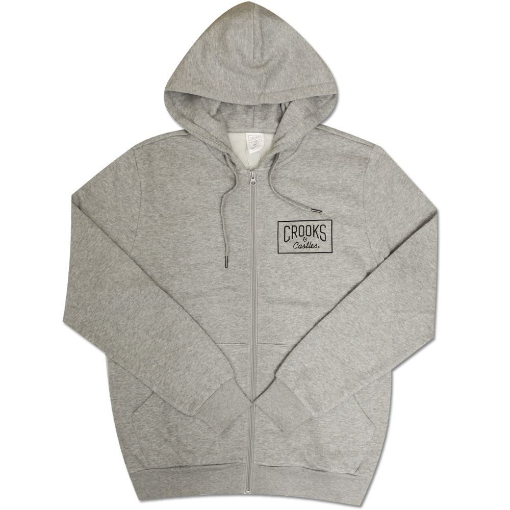 Crooks /& Castles Castles Crkskull Zip Hoodie Heather Grey