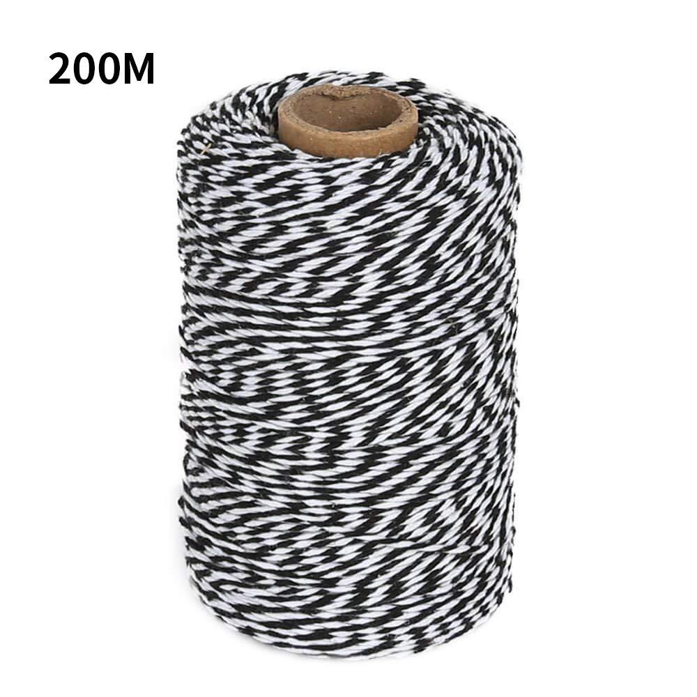 cordoncino ideale per impacchettare prodotti fatti in casa creazioni artigianali e fai da te rotolo da 200 m Black and White G2PLUS filo bicolore di cotone resistente tipo Baker/'s twine