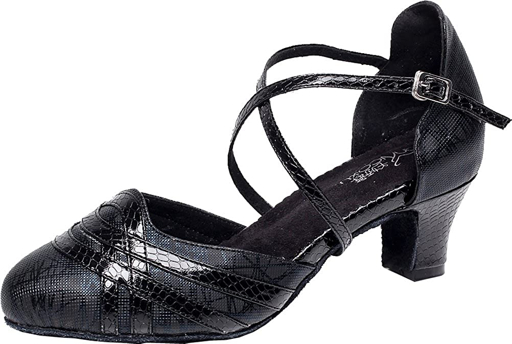 3IN Abby Womens Latin Salsa Tango Cha-Cha Party Custom Heel Round Heel Satin Professional Dance-Shoes Black US Size6.5
