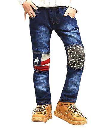 633bc80a0406f Yonglan Jeans Garçon - Pantalon Enfant Taille Elastique Genou Couture  Conception en Denim Casual Pants Printemps