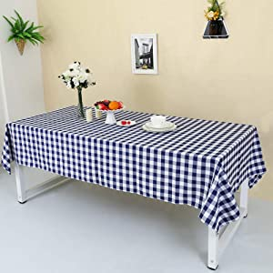 Zdada 60 x 84 Inch (150x210cm) Navy Blue and White Check Tablecloth Plaid Table Cover Party Picnic Home/Outdoor Use Decoration