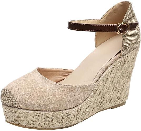 Luckycat Sandalias Mujer Cuña, Verano Plataforma Punta Cerradas Bohemias Zapatos De Tacón Alto Alpargatas De Playa Fiesta Zapatos para Mujer con