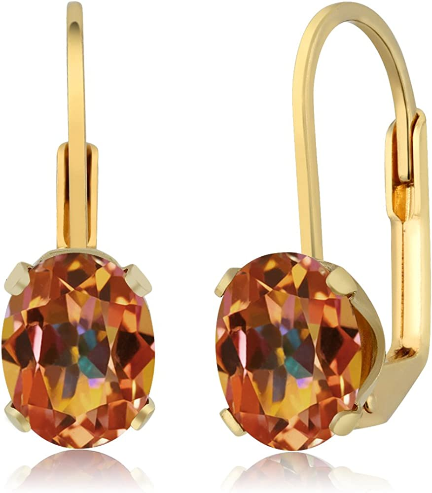Gem Stone King 3.20 Ct Oval Ecstasy Mystic Topaz Gold Plated 4-prong Stud Earrings 8x6mm