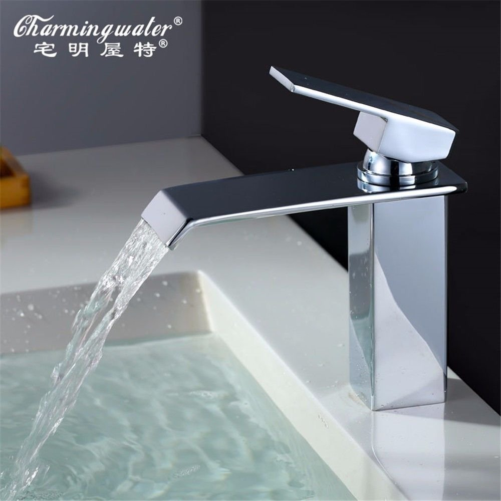 Lalaky Taps Faucet Kitchen Mixer Sink Waterfall Bathroom Mixer Basin Mixer Tap for Kitchen Bathroom and Washroom Copper Hot and Cold Water Waterfall Square Single Hole Single Handle