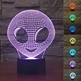 SUPERNIUDB Unique 3D Movie Alien 3D Night Light Table Desk Optical Illusion Lamps 7 Color Changing Lights