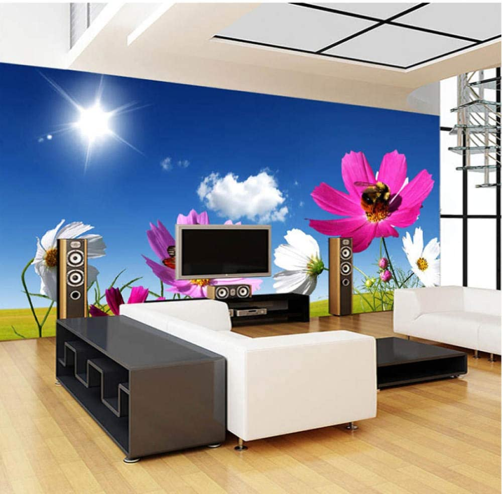 Custom Photo Mural Wallpaper Blue Sky White Clouds Sunshine Flower Pintura de pared Living Room Wall Covering 3D-280X200CM: Amazon.es: Bricolaje y herramientas