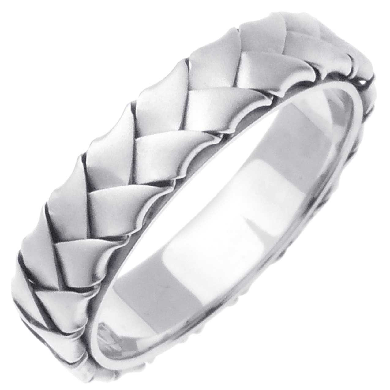14K White Gold Braided Basket Weave Women's Comfort Fit Wedding Band (5mm) Size-7.5c1