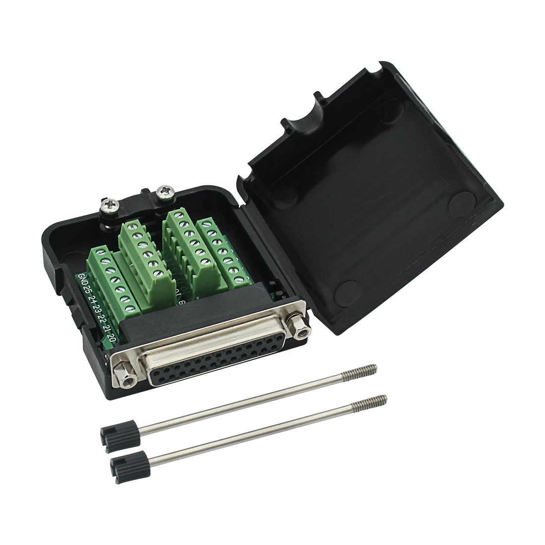 Twinkle Bay DB25 Connector to Wiring Terminal Db25 Breakout Board Solder-Free Male Adapter with Case
