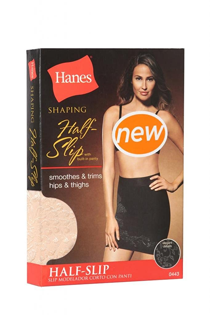 Hanes Firm Control Shaping Half-slip with Built-in Panty Nude /& Black