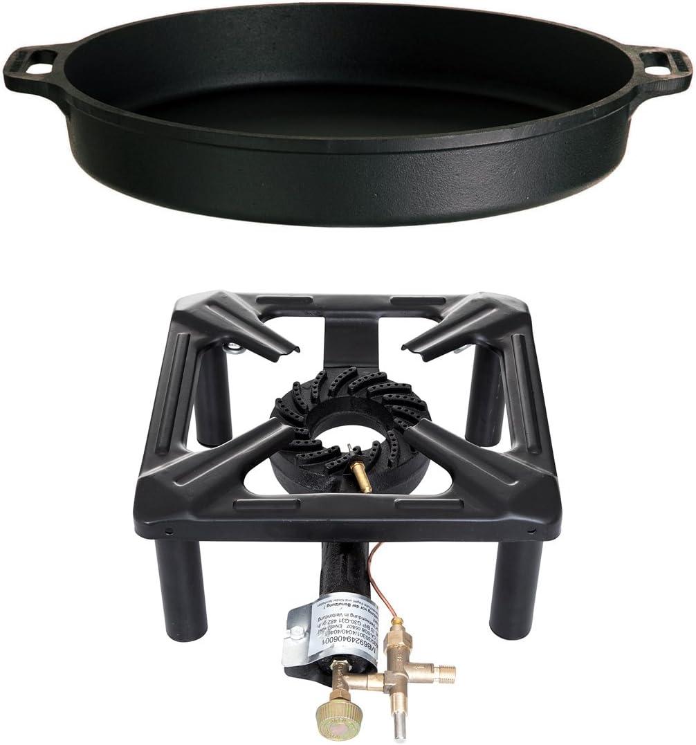 PaellaWorld International Hornillo de Gas hocher eléctrica de Juego con Hierro Fundido Sartén, Multicolor, 2 Piezas