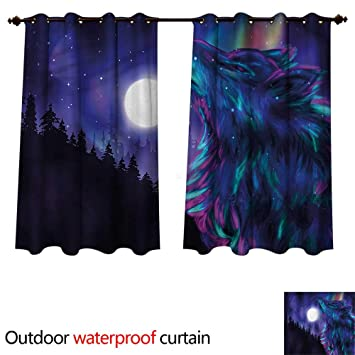 cd10ba1346 Amazon.com : cobeDecor Moon Outdoor Ultraviolet Protective Curtains ...