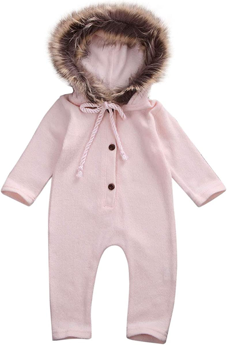 Hadetoto Layette Cable Sweater Romper with Faux Fur Hood Baby One-Piece Jumpsuit Coveralls Warm Long Sleeve Outfit
