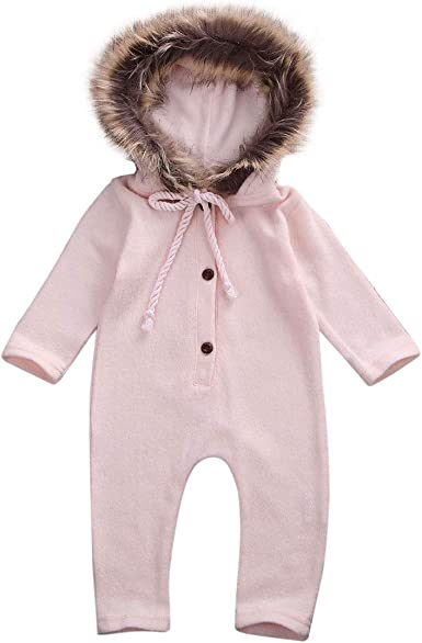 Winter Warm Newborn Boy Girl Romper Hooded Jumpsuit Bodysuit Outfit Clothes 6N