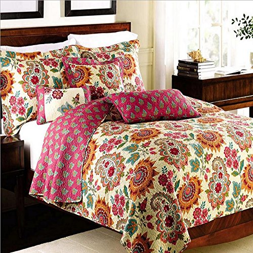 Best Bedding Sets 3 Pieces Cotton Printed Floral Patchwork Bedspread Quilt Sets Queen