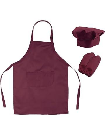 OUNONA Conjunto de Cocinero de Delantal Gorro y Mangas para Niño Disfraz de Hornear Infantil (