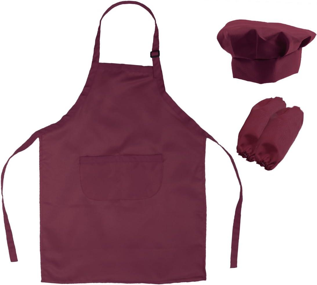 OUNONA Conjunto de Cocinero de Delantal Gorro y Mangas para Niño Disfraz de Hornear Infantil (Vino Tinto)