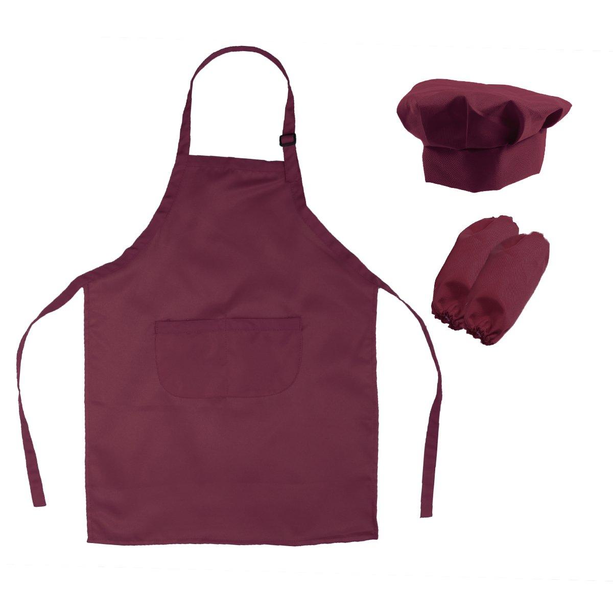 BESTOMZ Kinder-Koch-Set komplett Kinder Küche Geschenk-Spielset mit Kochmütze Schürze und Kochen Ärmel zum Kochen Backen Malerei Dekorieren Party (Weinrot)