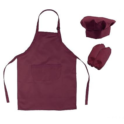 OUNONA Conjunto de Cocinero de Delantal Gorro y Mangas para Niño Disfraz de  Hornear Infantil ( b1c7af98db3