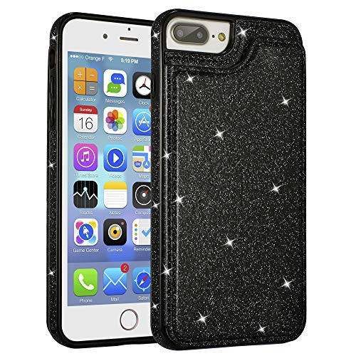 UEEBAI Case for iPhone 7 Plus 8 Plus, Premium Glitter PU Leather Case Back Wallet Cover [Two Magnetic Clasp] [Card Slots] Stand Function Durable Shockproof Soft TPU Case for iPhone 8 Plus - Black#2