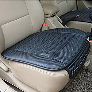 OOOUSE PU Leather Bamboo Charcoal Breathable Seat Cushion Cover Pad Mat for Auto Car Office Chair Black (A)
