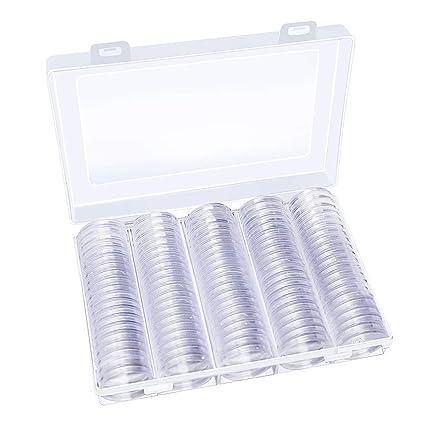 Hysagtek - 100 unidades de cápsulas de monedas redondas para colección de monedas, contenedor con caja organizadora de almacenamiento para suministros ...