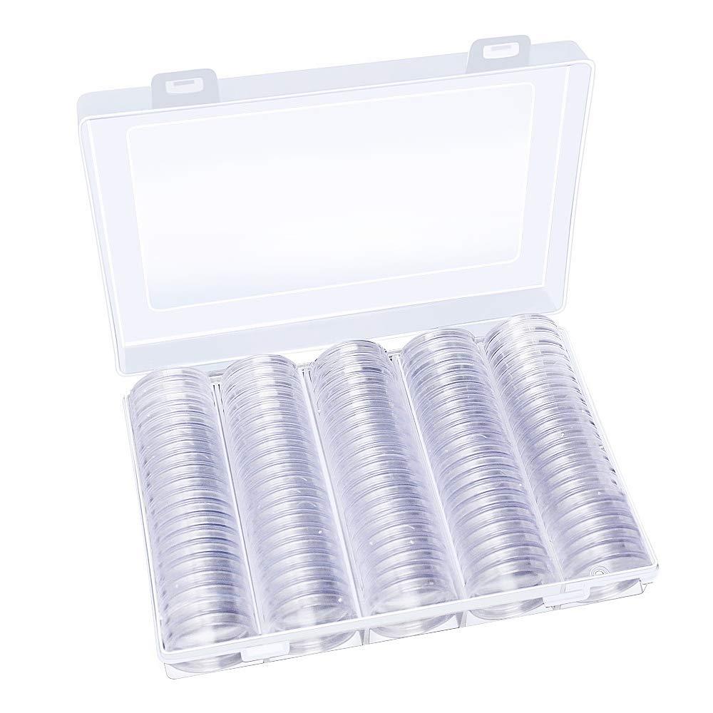 Hysagtek - 100 unidades de cápsulas de monedas redondas para colección de monedas, contenedor con
