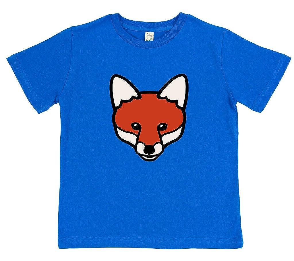 Organic Cotton Paw Prints Kids Fox T-Shirt Blue or Pink