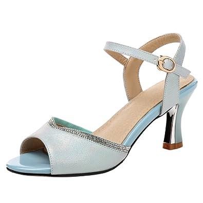 COOLCEPT Damen Absatz Sandalen Sommer Schuhe