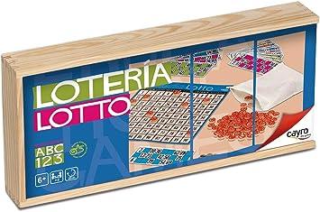 Cayro -Lotto/Tómbola 48 Cartones en Caja de Madera - Juego de Mesa Tradicional - Bingo - Juego de Mesa (749): Amazon.es: Juguetes y juegos