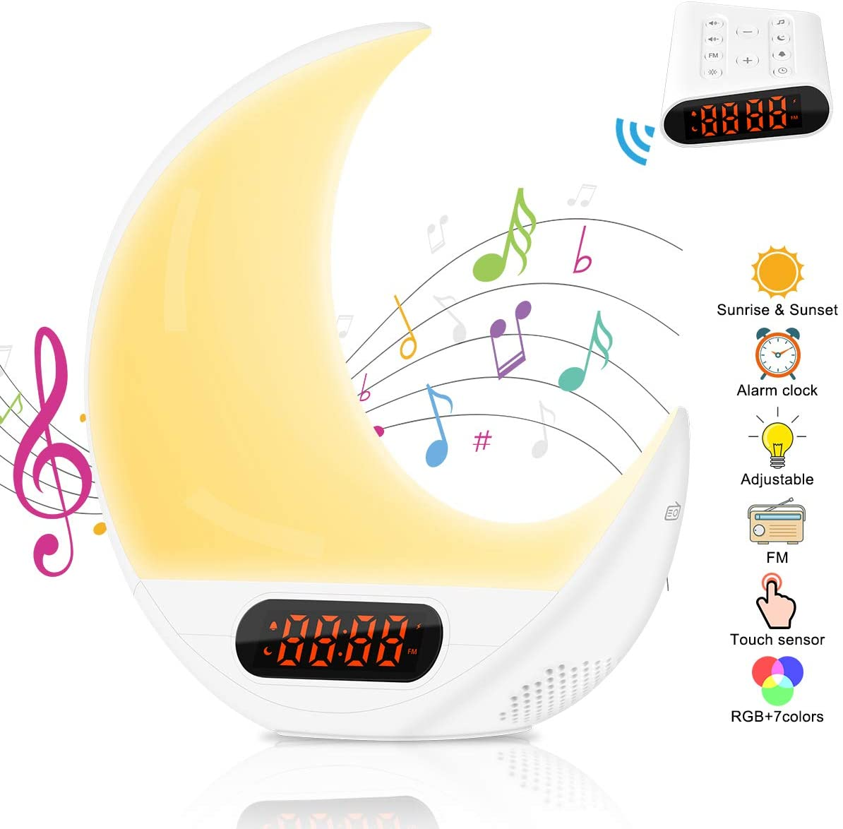 AsperX Wake Up Light, Alarm Clock Colourful Sunrise Sunset Simulation Bedside Lamp with FM Radio, 7 Nature Sounds 7 Colors Changeable and Touch Control Function LED Light,Remote Light Alarm Clock