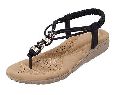 Scothen Femme Sommer chaussures strass Bohême fille bascule plat plage Tongs  pratique Sandales b4fdc9eb8c5