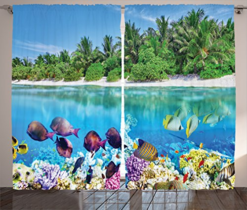 Ocean Curtains Island Decor by Ambesonne, Sandy Seacoast and the Underwater Aquatic World in Maldives Travel Diving Paradise Paintworks, Living Room Drapes for Bedroom 2 Panel Set, 108 X 84 Inch Multi Review